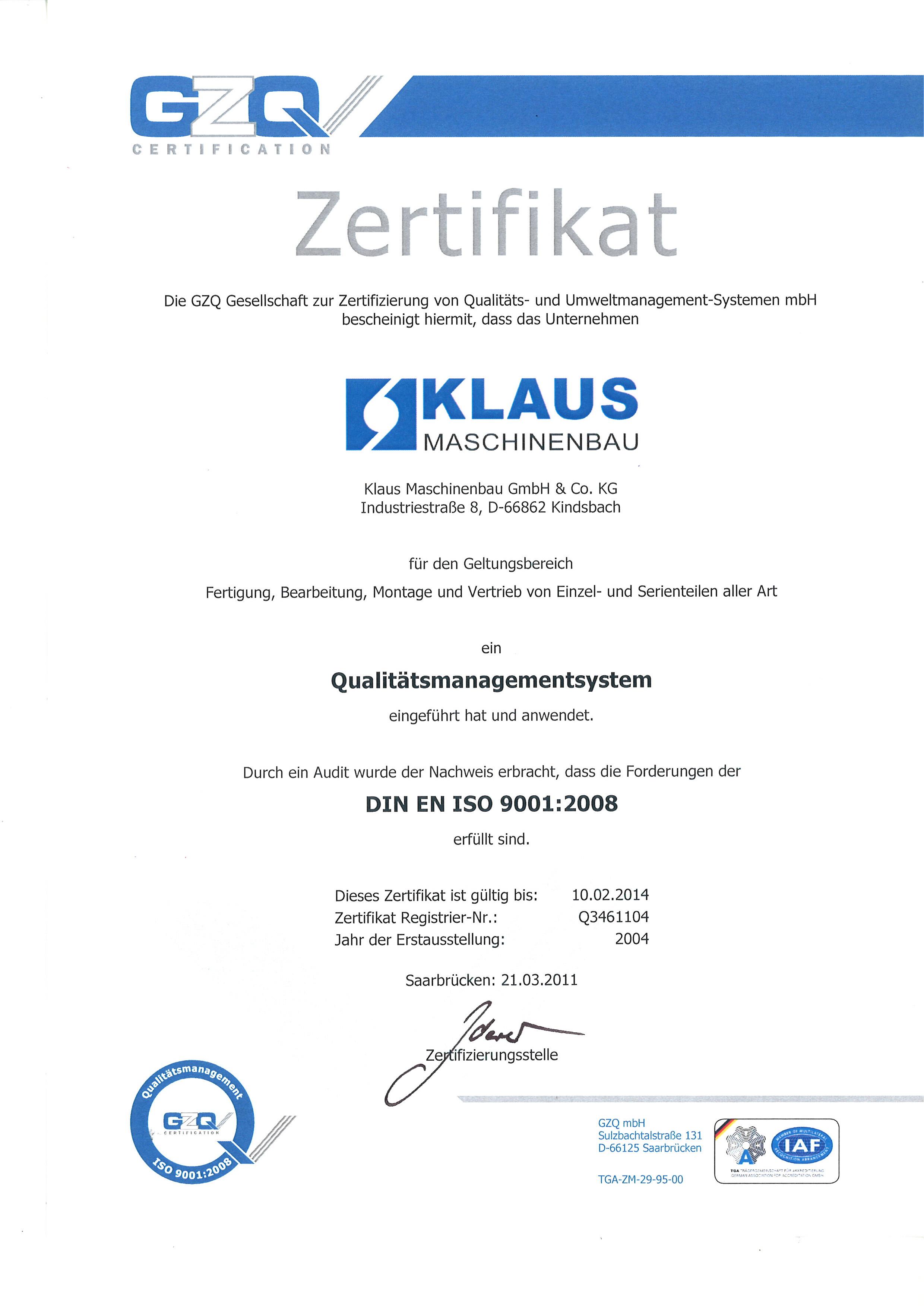 Zertifikat DIN ISO 9001:2008 gültig bis 2013